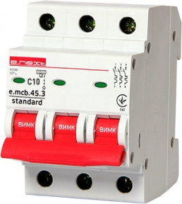 Вимикач автоматичний e.mcb.stand C 3p 10А E.Next