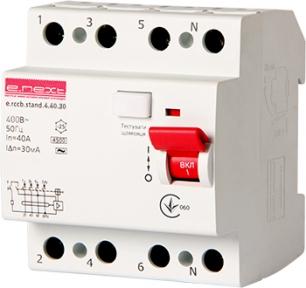Пристрій захисного відключення ПЗВ e.mcb.stand  4p 40А 30mA E.Next