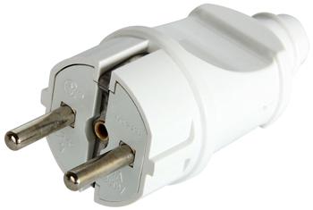 Вилка побутова e.plug.straight.003.16, з/з, 16А пряма біла