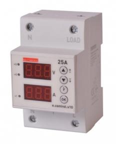 Реле контролю напруги і струму E.Next 1ф 25A з індикацію 10