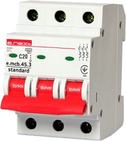 Вимикач автоматичний e.mcb.stand C 3p 20А E.Next