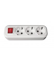 Колодка 7231 3 гн з/з + вимикач Benefis Luxel