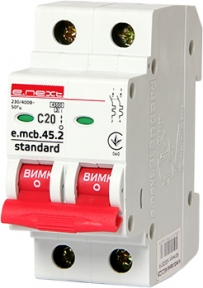 Вимикач автоматичний e.mcb.stand C 2p 20А E.Next