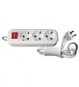 Подовжувач 7233 3гн 3м + вимикач з заземленням Benefis Luxel