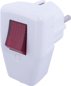 Вилка побутова E.Next e.plug.009 з/з,16А біла кут/вимикач